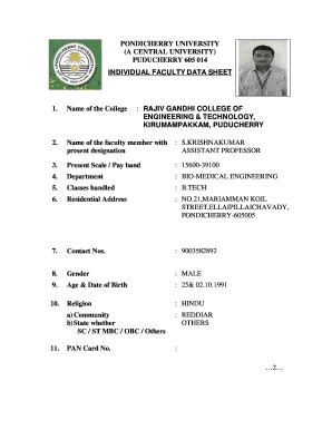 INDIVIDUAL FACULTY DATA SHEET KIRUMAMPAKKAM, PUDUCHERRY - rgcetpdy ac