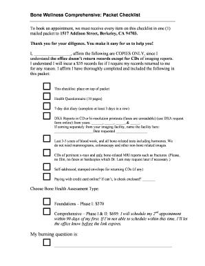 fillable online bone wellness comprehensive packet checklist fax
