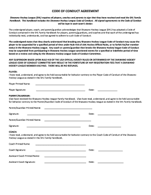 code of conduct sample template - shl code of conduct agreement fill online printable