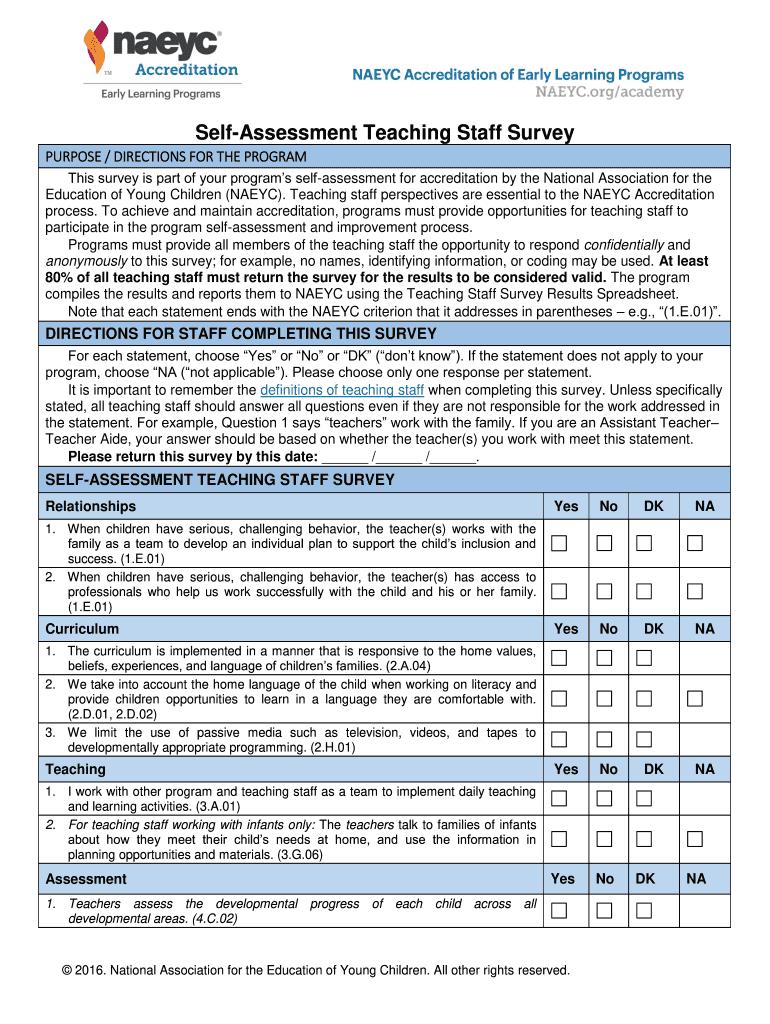 Fillable Online naeyc Self-Assessment Teaching Staff Survey