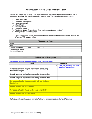 Anthropometrics Observation Form. Anthropometrics - dhs wisconsin