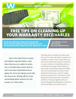 Fillable Online free tips on cleaning up your warranty