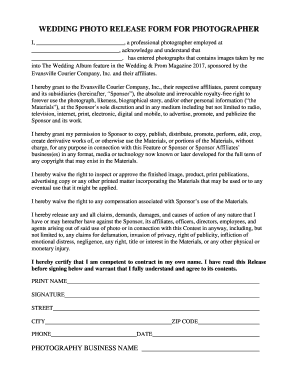 WEDDING PHOTO RELEASE FORM FOR PHOTOGRAPHER