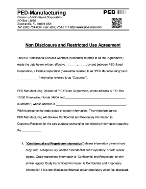 Editable Non Disclosure Agreement Florida Free Fill Print