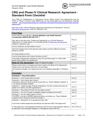 Fillable Clinical Trial Agreement Checklist Edit Online Download