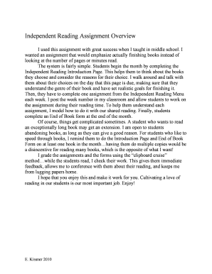 independent reading assignment