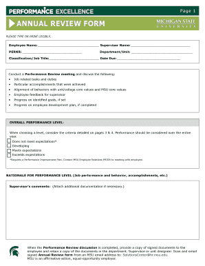 Performance Excellence Annual Review Form. Annual Review Form