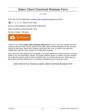 Fillable Online Salon Client Chemical Release Form. salon client ...