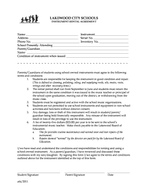 Fillable Online Instrument Rental Agreement Fax Email Print