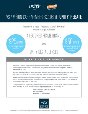 Fillable Online VSP VISION CARE MEMBER EXCLUSIVE: UNITY ...