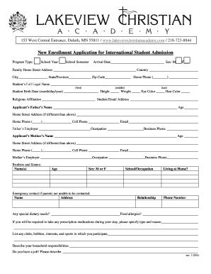 New Enrollment Application for International Student Admission
