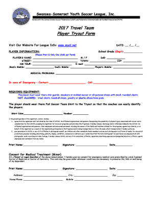 Fillable Online Swansea-Somerset Youth Soccer League, Inc Fax Email