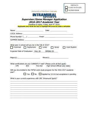 Intramural Sports Supervisor Application - unco