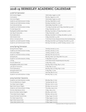 Berkeley Academic Calendar.Fillable Online 2018 19 Berkeley Academic Calendar Fax Email Print