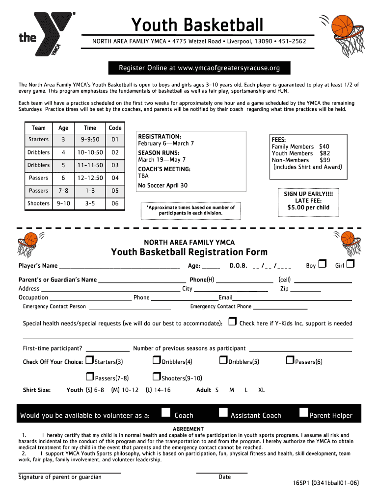 picture about Syracuse Basketball Schedule Printable referred to as Youth Basketball - YMCA of More substantial Syracuse Fill On-line