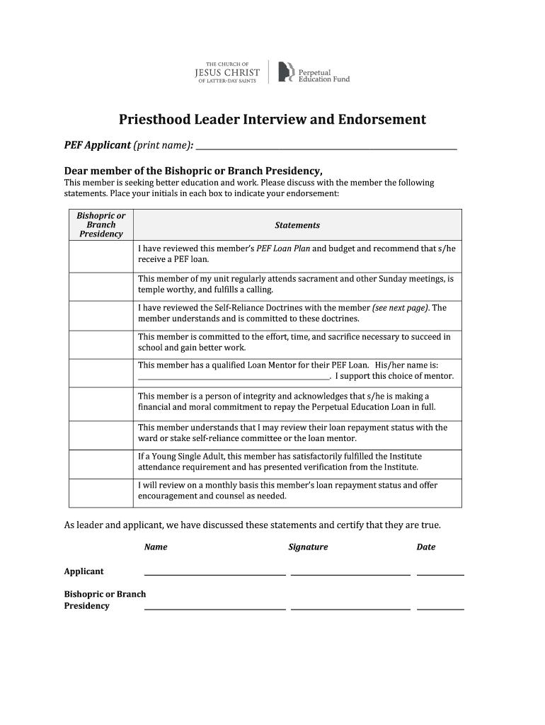 Fillable Online lds ENGLISH PEF Priesthood Endorsement Form