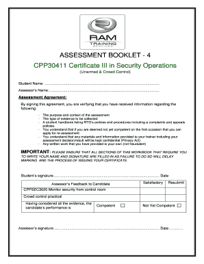 Fillable Online Assessment Booklet 4 Fax Email Print Pdffiller Ignore the contents of this booklet at your own risk. pdffiller