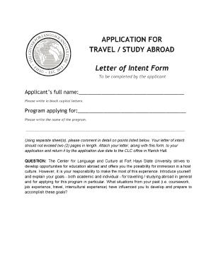 sample letter of intent for exchange program