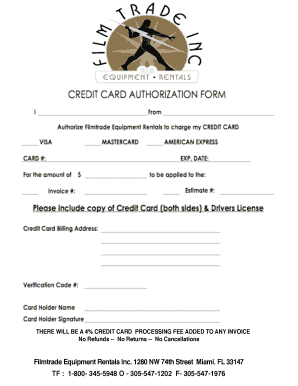 credit card authorization form - Filmtrade Fill Online