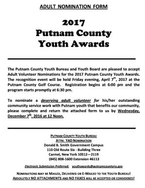Fillable Online adult nomination form - Putnam County Fax