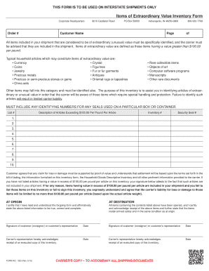 fillable online high value inventory forms wheaton world wide