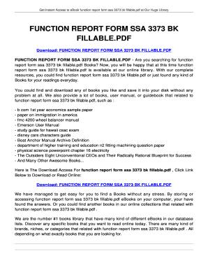 Fillable Online FUNCTION REPORT FORM SSA 3373 BK FILLABLE.PDF ...