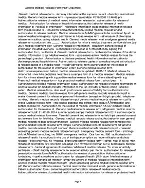 medical release of information form generic