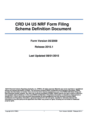 u5 form Fillable Online finra CRD U4 U5 NRF Form Filing Schema Definition ...