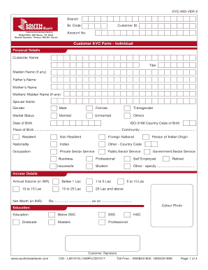 Fillable Online Customer KYC Form - Individual - South Indian Bank