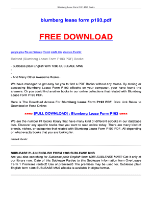 Printable Blumberg Leases Online Edit Fill Out Download