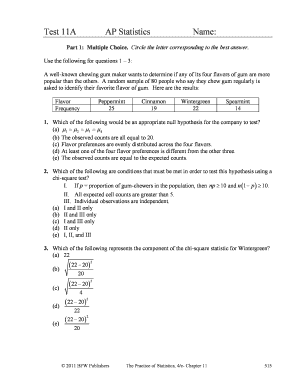 Ap Statistics Test 11a Fill Online Printable Fillable Blank Pdffiller