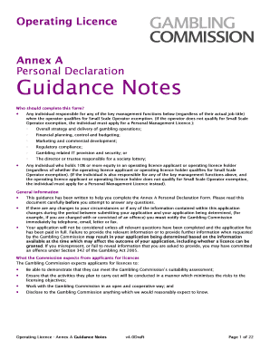 Gambling commission operating licence guidance notes seven feathers casino or