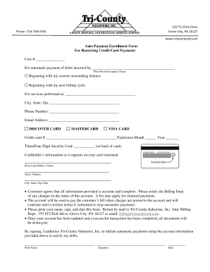 Auto Payment Enrollment Form For Recurring Credit Card