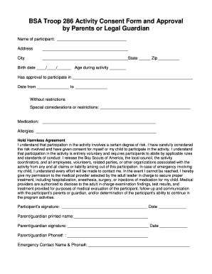 bsa activity consent form Templates - Fillable & Printable Samples ...