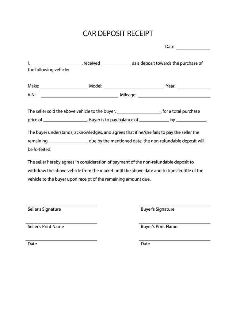 deposit form for car  Car Deposit Form - Fill Online, Printable, Fillable, Blank ...