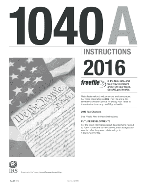 2016 Form IRS Instruction 1040-A Fill Online, Printable, Fillable ...