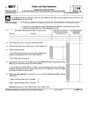 2016 Form IRS 8917 Fill Online, Printable, Fillable, Blank - PDFfiller