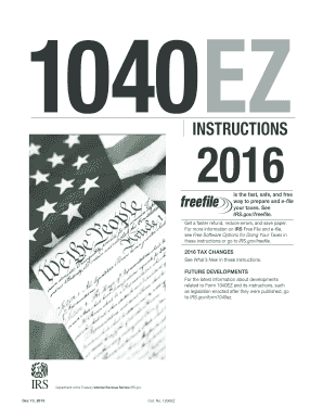 2016 Form IRS Instruction 1040-EZ Fill Online, Printable, Fillable ...