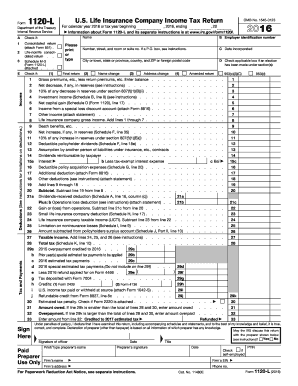 2016 Form IRS 1120-L Fill Online, Printable, Fillable, Blank ...