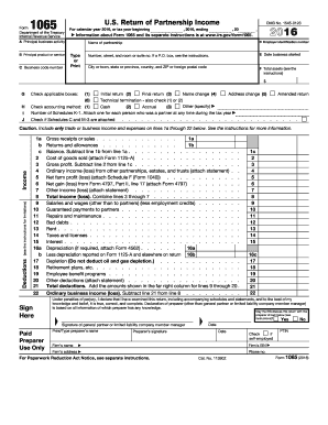 2016 Form IRS 1065 Fill Online, Printable, Fillable, Blank - PDFfiller