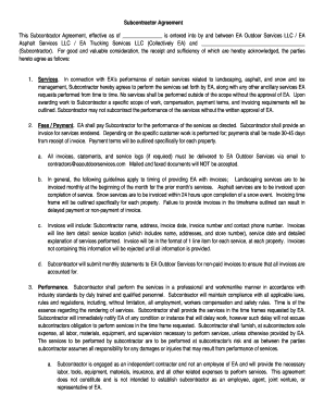 This Subcontractor Agreement, Effective As Of Is Entered Into By And  Between EA Outdoor Services