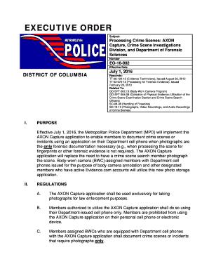 Fillable Online EO-16-002 Processing Crime Scenes AXON