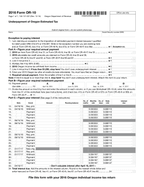 Fillable Online oregon 2016, Form OR-10, Underpayment of Estimated ...