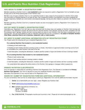 Puerto Rico Nutrition Club Registration