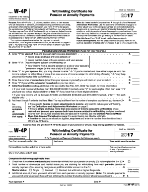 Fillable Online 2017 Form W-4P. Withholding Certificate for ...