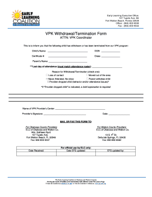 Fillable Online elc-ow VPK Withdrawal/Termination Form - elc-ow org