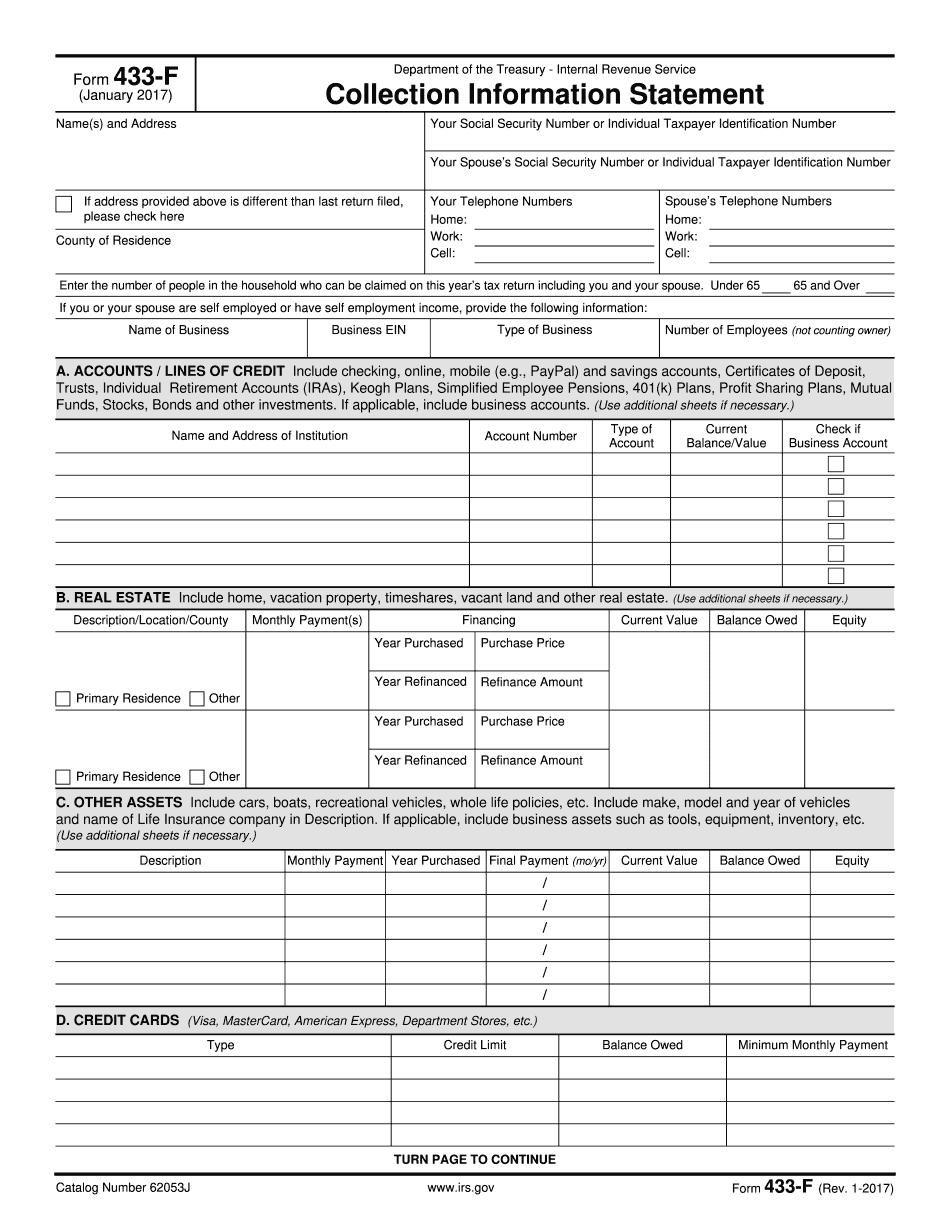 Form 433-F