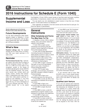 2016 Form IRS Instruction 1040 - Schedule E Fill Online, Printable ...