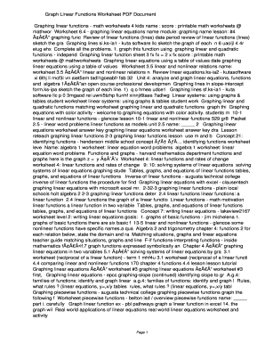 Fillable Online fwmv Graph Linear Functions Worksheet PDF ...