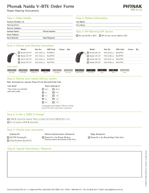 Fillable Online Phonak Naida V Bte Order Form For Professionals Fax